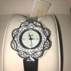 Badgley Mischka flower crystal watch
